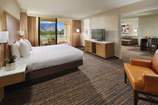 king guestroom with a view of the golf course